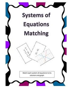 COMMON CORE ALIGNED! Systems of Equations Matching is an interactive and hands on way for students to practice solving systems of equations. This activity has the student work with multiple representations (the graph, solution, and the system of equations