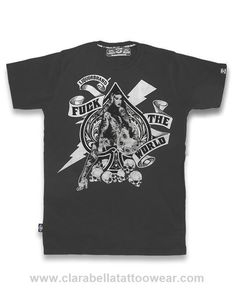 FTW Spade Dark Grey - Liquorbrand T-Shirt  FTW Spade Dark Grey - Liquorbrand     The famous skulls and tattoos design, a trademark in Liquorbrand t-shirts, now featuring an ace of spade on the front.      Pre-shrunk 100% cotton (wi..  Price: €24.90  http://www.clarabellatattoowear.com/men/t-shirts/liquorbrand/ftw-spade-dark-grey-liquorbrand-t-shirt/   Do you love promos? Don't miss out! Grab YOUR rocking 15% discount code: http://eepurl.com/boSy7H