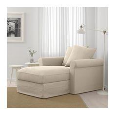 GRÖNLID Chaise longue, Sporda natural, Height including back cushions: 104 cm - IKEA Ikea Bank, Deep Seat Cushions, Ikea Family, Large Sofa, Ikea Furniture, Furniture Stores, Ikea Sofa, Furniture Movers, Furniture Online