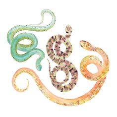 Watercolor Snakes Print.  Wall Art.  Nature by SnoogsAndWilde, $34.00