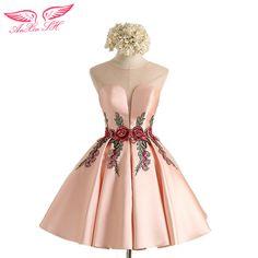 bb7dc782d4 AnXin SH pink flower evening dress new Simple flower pink lace Short  evening Dresses Sexy Bride Party flower evening dress-in Evening Dresses  from Weddings ...