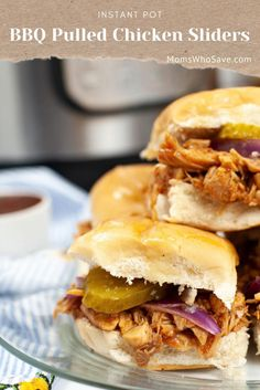 Instant Pot Pulled BBQ Chicken Sliders | MomsWhoSave.com #recipes #instantpot #instantpotrecipes #chickenrecipes Chicken Sliders, Chicken Sandwich, Bbq Chicken, Chicken Recipes, Warm Kitchen, Good Food, Yummy Food, Recipe Boards, Holiday Recipes