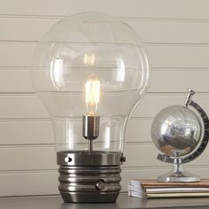 "$100--   Edison 18"" Table Lamp with Globe Shade"