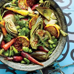 Braised Artichokes, Favas, and Carrots in Creamy Lemon Sauce with Fennel - Editors' Picks: Favorite Artichoke Recipes - Cooking Light Side Dish Recipes, Vegetable Recipes, Vegetarian Recipes, Cooking Recipes, Healthy Recipes, Dip Recipes, Light Recipes, Vegetable Dishes, Salad Recipes