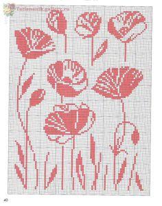 Cross Stitch Flowers, Cross Stitch Patterns, Knitting Charts, Knitting Patterns, Crochet Table Runner, Graph Paper, Needlepoint, Hand Embroidery, Stencils