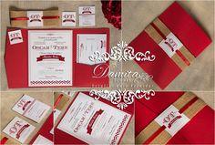 Invitaciones Boda, blanco y rojo, yute rustico
