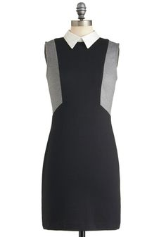 Greyscale Graphics Dress - Black, Grey, Solid, Work, Casual, Mod, Sheath / Shift, Sleeveless, Fall, Mid-length, Press Placement