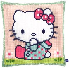 Hello Kitty On The Lawn Cushion - Needlepoint Kit Vervaco 0155210