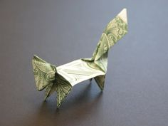 money origami squirrel Folding Money, Origami Paper Folding, Origami And Quilling, Oragami, 3d Origami, Dollar Bill Origami, Money Origami, Origami Patterns, Origami Animals