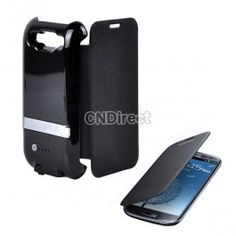 $19.20 New 2600MAH External Backup Battery Charger Flip Folio Case Cover For Samsung Galaxy S3 III GT-i9300 Black