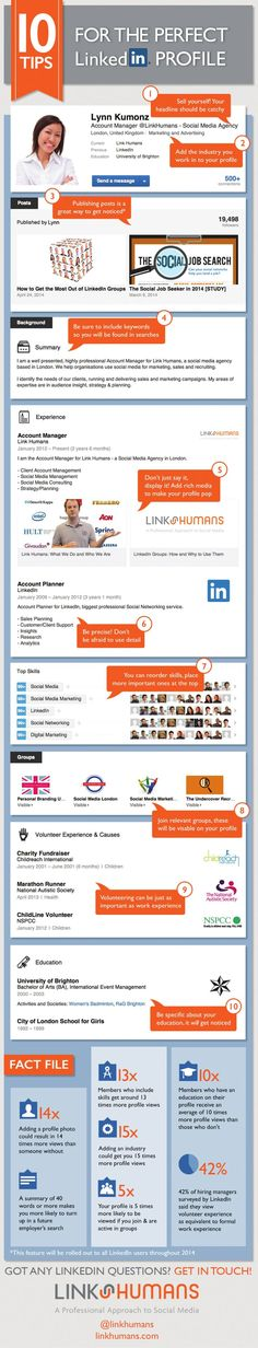 Tips for the Perfect #LinkedIn #Profile #career #infographic