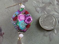 POLYMER CLAY FOCAL BEAD  FLORAL DIAMOND with by Squirrelette