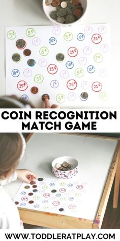A fun and easy way to introduce coins! Have fun with this simple matching coin activity! #learningcoins #coinactivity #matchingactivity #homeschool Outdoor Activities For Kids, Games For Toddlers, Preschool Activities, Toddler Games, Learning Money, Fun Learning, Numbers Preschool, Matching Games, Math Games