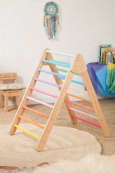 Foldable Pikler Triangle / Pastel Rainbow Pikler Triangle / Climbing Triangle for Toddler / Montessori Furniture - Baby toys by age - Montessori Baby, Montessori Playroom, Cheap Furniture, Kids Furniture, Furniture Online, Toddler Gifts, Toddler Bed, Ciel Pastel, Wood Toys
