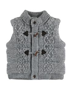 Knit Quilted Toggle Vest, Gray, Size 3-24 Months