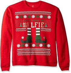 57a7271ffe Elf Head Shot Men's Funny Ugly Christmas Sweatshirt Mens Ugly Christmas  Sweater, Plastic Bottles,