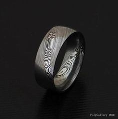 damascus steel and platinum mens wedding bands