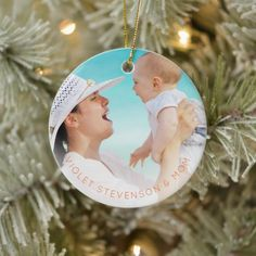 First Christmas together modern baby girl photo Ceramic Ornament