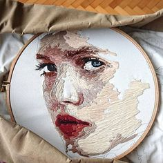 Embroidery for Beginners & Embroidery Stitches & Embroidery Patterns & Embroidery Funny & Machine Embroidery Portrait Embroidery, Hand Embroidery Stitches, Embroidery Hoop Art, Cross Stitch Embroidery, Embroidery Designs, Hand Stitching, Thread Art, Thread Painting, Art Fil