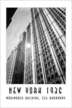 Christian Müringer - Historisches New York, Woolworth Building am Broadway New York Poster, Claude Monet, Broadway Poster, Woolworth Building, Skyscraper, Multi Story Building, Louvre, Christian, Travel