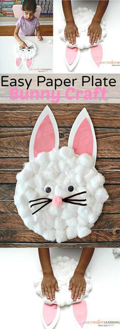 Easy Paper Plate Bunny Craft for Kids - simplytodaylife.com
