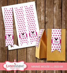 Minnie Mouse Treat Bag Tags Minnie Mouse Birthday Party Printables LL-0023-08