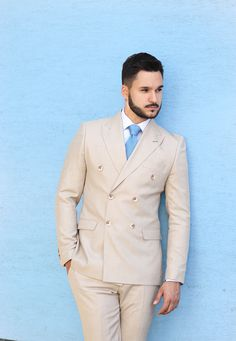 Find more inspiration from our fashion designer in our Instagram. Double Breasted Suit, Mens Suits, Suit Jacket, Beige, Jackets, Fashion Design, Inspiration, Collection, Instagram