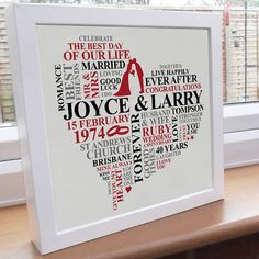 Personalised Print Ruby Anniversary Word Art By AliChappellUK Year Gifts40th Wedding