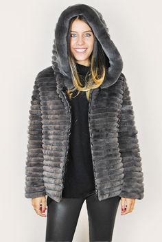 JESSIMARA GREY REX RABBIT FUR REVERSIBLE PUFFER DOWN COAT