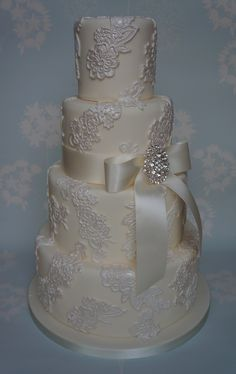 Lace Applique Wedding Cake - Four tier lace applique wedding cake Round Wedding Cakes, Amazing Wedding Cakes, White Wedding Cakes, Elegant Wedding Cakes, Wedding Cake Designs, Trendy Wedding, Elegant Cakes, Purple Wedding, Gold Wedding