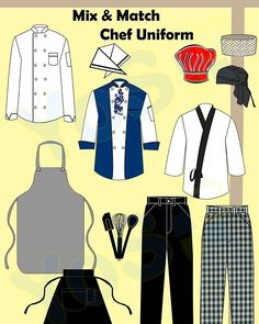 [Mix & Match] - Chef Apparel 🛒 An easy shopping guide for you.  You can select any style from our chef uniform to pair it with color and fabric of your choice!  NO DESIGN FEE!! but lead time do apply so we can manufacture according to your order.  Some of the custom products we can produce are listed below.  CHEF UNIFORM & ACCESSORIES : ·  Chef jacket ·  Pant ·  Apron ·  Toques /skull hat /head wraps/caps ·  Neckerchiefs ·  Safety shoes /slip resistant shoes ·  kitchen tools set…