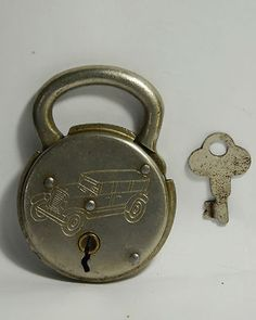 Image detail for -Vintage Story steel padlock lock with antique old key