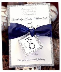 Navy Wedding Invitation with RSVP and ribbon tag by VPElegance