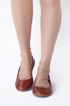 2cc7be1350b2b0 Ballet flats Lace up - Tobbaco brown handmade leather ballerinas - CUSTOM  FIT