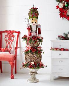 Classic Red & Green Nutcracker Topiary