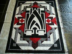 Stunning Art Deco quilt. What a striking quilt!