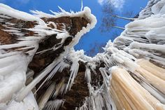 Needle-like icicles fill Lake Superior's mainland cliffs at the Apostle Islands National Lakeshore, along the shore of Lake Superior, near Bayfield. Last winter was the first time the caves had been accessible in five years.