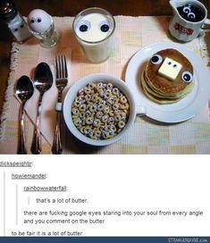 Googley eyes on every single cheerio,  really?