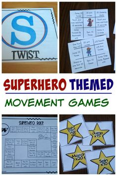 I love the superhero themed pack of movement games! The superhero theme is great motivation for moving!