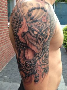 Owl tattoo rose and key ! Owl holding key clock rose klok uil royal ink netherlands