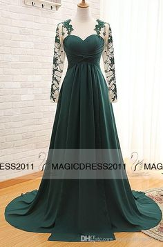 2015 Dark Green Prom Evening Dresses With Long Sleeve A Line Crew Appliques  Pleated Long Chiffon Formal Pageant Gowns Party Dress Js Boutique Evening  ... 00c3ef2ee293