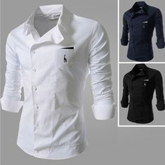 Side Button Long Sleeve Shirt with Pocket. A perfect fit for someone who has a slim build. unique-outfit.com