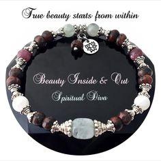 INNER BEAUTY Healing Crystal Reiki Moonstone Aquamarine Lotus Bracelet