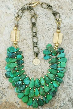 Gorgeous Green Turquoise Teardrop and Gold Statement Necklace Designer Gorgeous Green Turquoise Teardrop and Gold Statement Necklace Jewelry Box, Jewelry Accessories, Jewelry Necklaces, Beaded Necklace, Jewelry Design, Jewelry Making, Green Necklace, Fringe Necklace, Jewellery