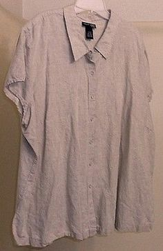 VENEZIA-JEANS-Cap-Sleeve-Beige-Linen-Cotton-Button-Front-Shirt-Sz-26-28