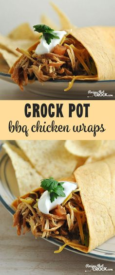 These Crock Pot BBQ Chicken Wraps are so delicious! Your entire family will love… These Crock Pot BBQ Chicken Wraps are so delicious! Your entire family will love them! Slow Cooker Huhn, Crock Pot Slow Cooker, Crock Pot Cooking, Bbq Chicken Wraps, Chicken Wrap Recipes, Cooker Recipes, Crockpot Recipes, Food Dishes, Dinner