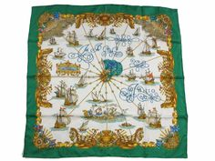 Auth Excellent HERMES Scarf 100% Silk VOILES DE LUMIERE Green Multi-Color 34012