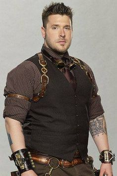 Man steampunk. Reds and browns