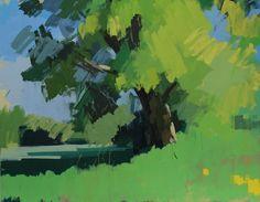 Oak tree Hawkhurst, Spring.  Oil on canvas 30 x 38 ins.   Philip Richardson