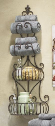 Wrought Iron Wall Wine Rack Tuscan Towel Holder Reno For
